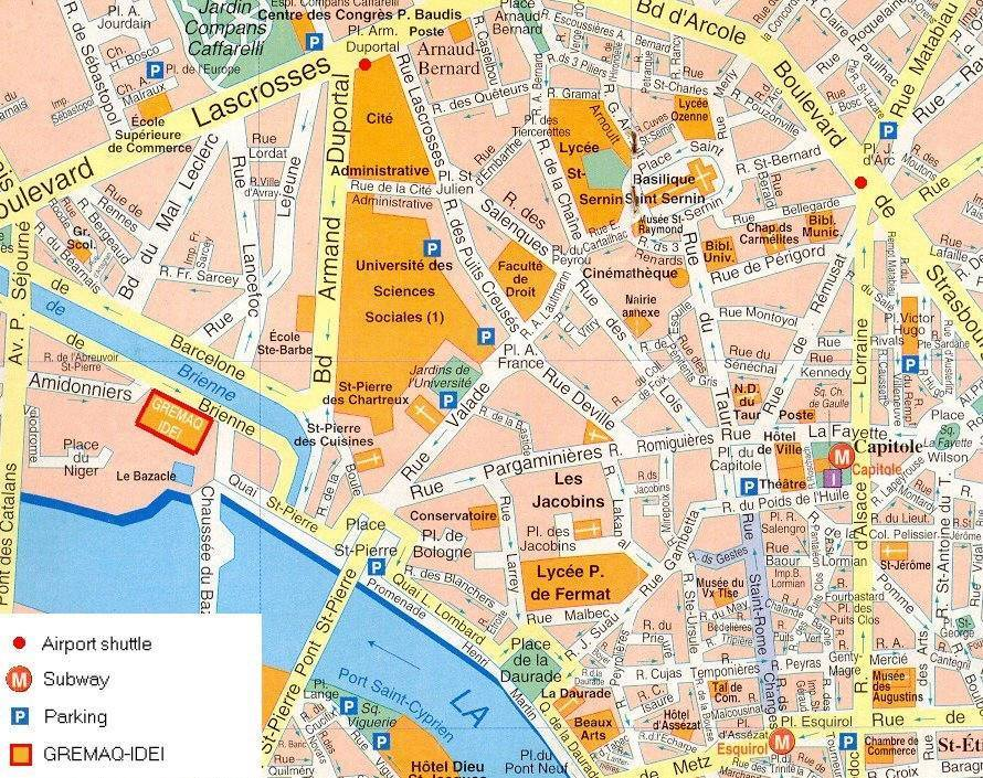 Carte de toulouse plan de toulouse for Carte de france hotel