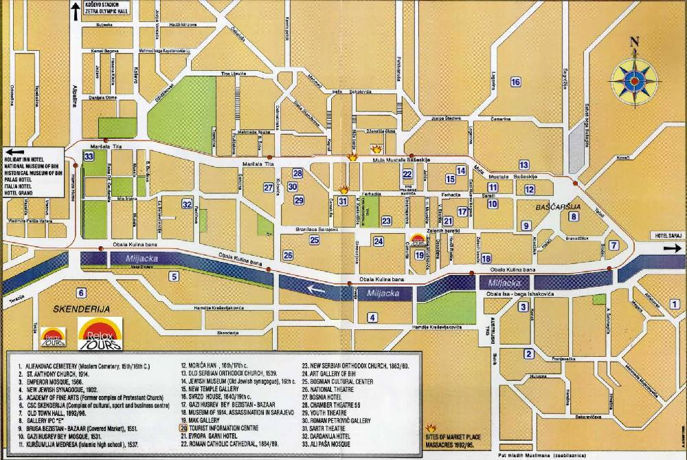 Detailed City Map Of Sarajevo Street Map