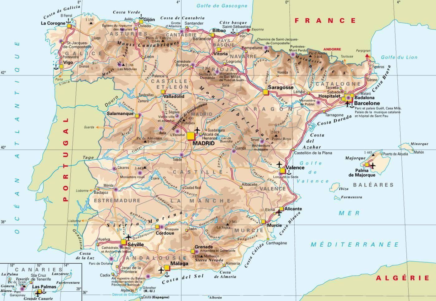 Carte d'Espagne   Plan de l'Espagne