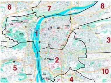 Distretti di Praga - Zone di Praga