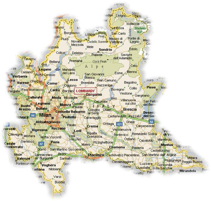 Carte Lombardie   Plan de la Lombardie