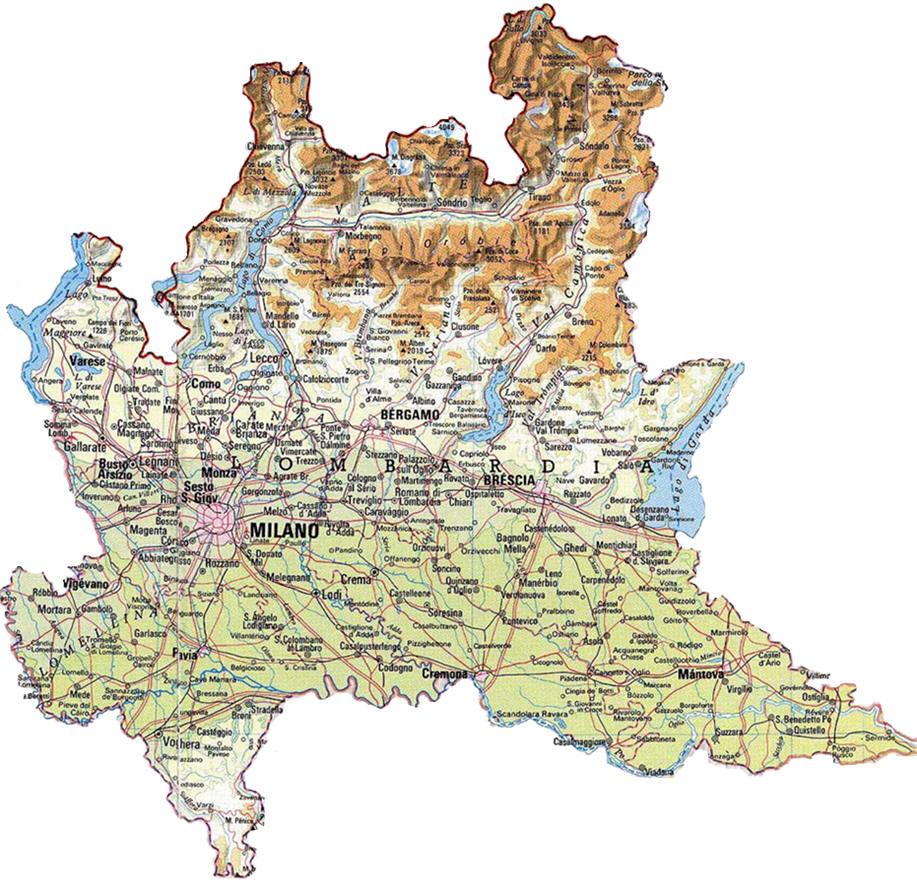 Carte de la lombardie karte von lombardei mapa lombardía map of