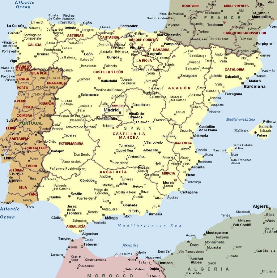 Spanische Karte.Karte Von Spanien Karten Von Spanien