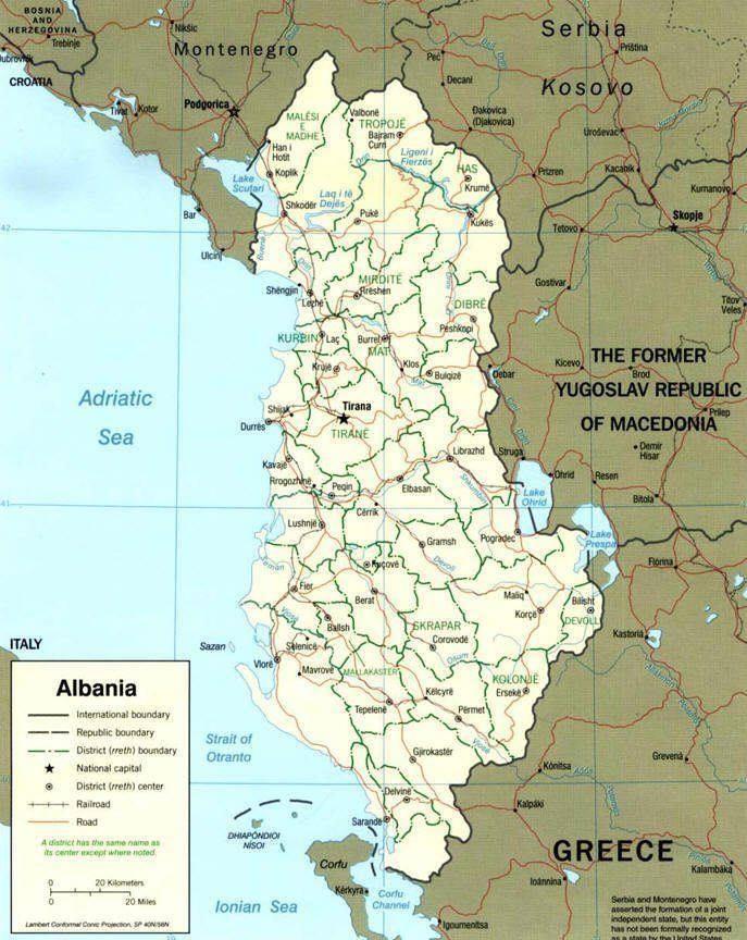 Cartina Di Albania.Mappa Dell Albania Cartina Dell Albania