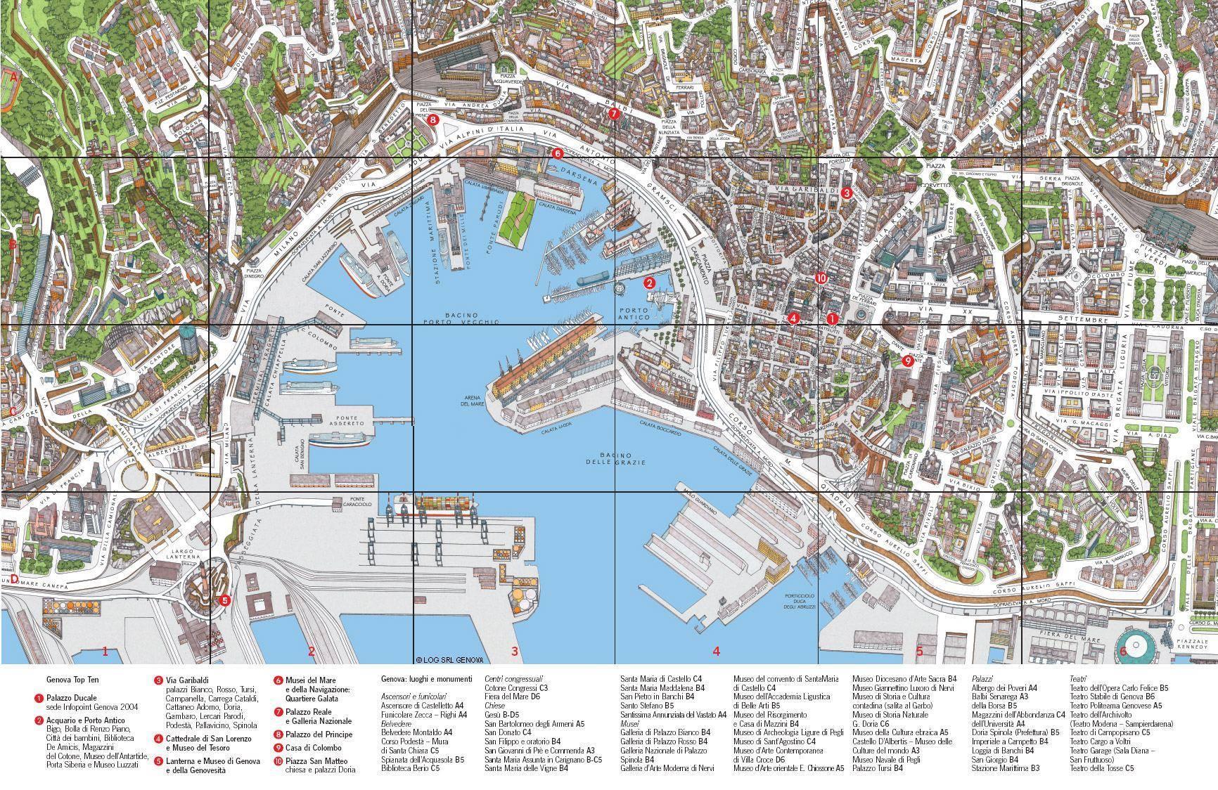 Genova Cartina.Mappa Di Genova Cartina Di Genova