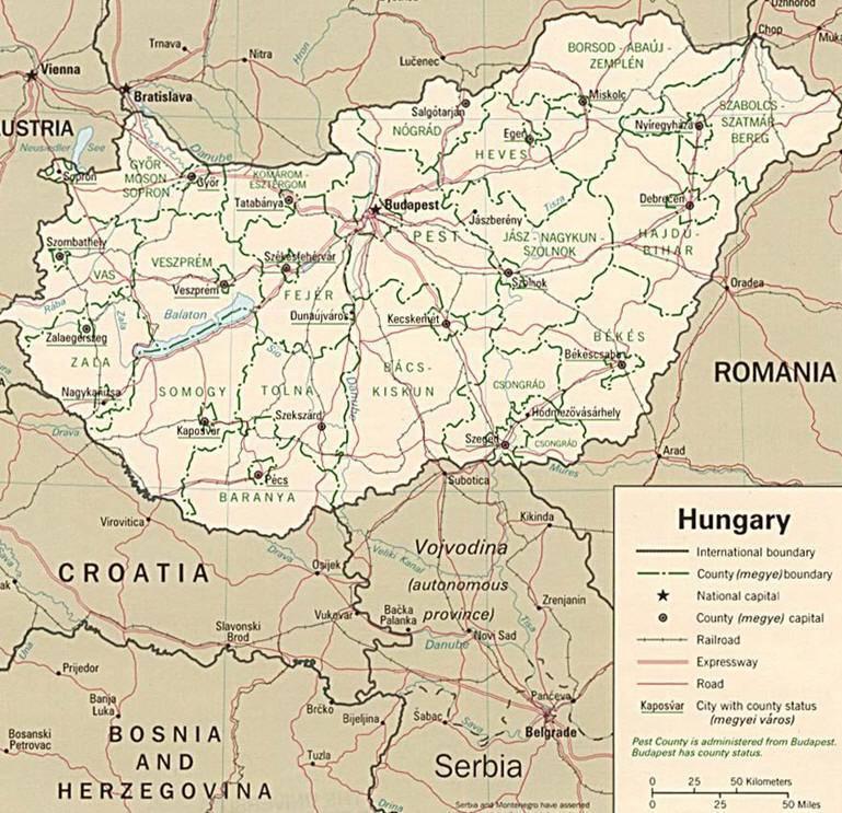 Aeroporto Ungheria : Mappa dell ungheria cartina