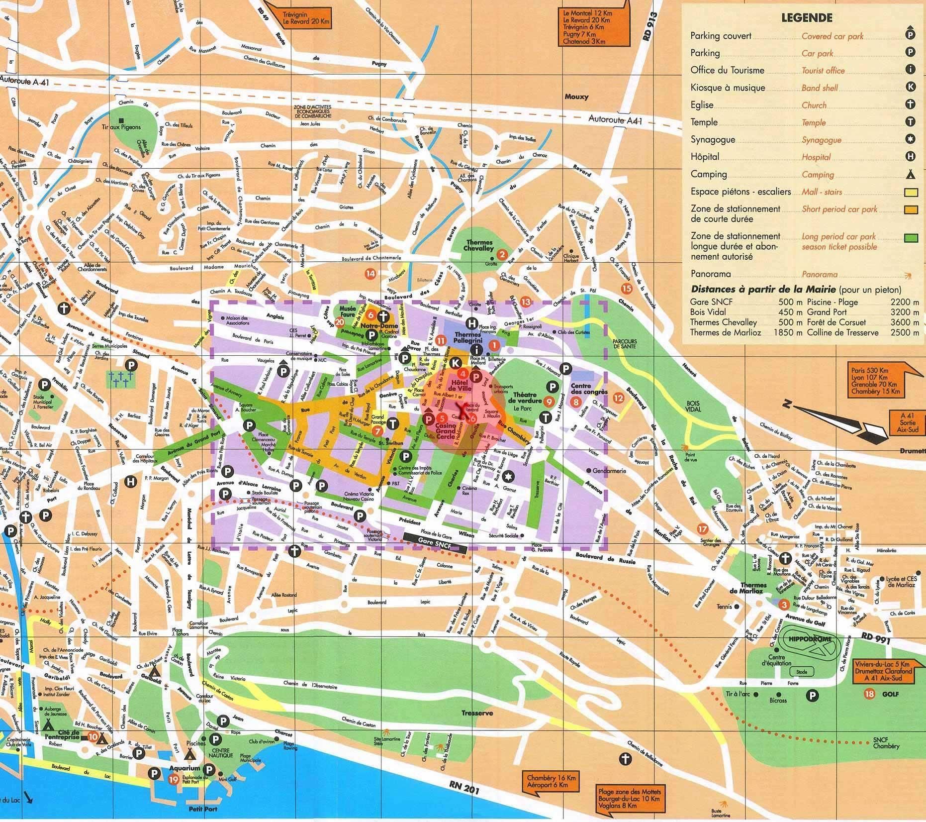 Aix Les Bains Plan De La Ville