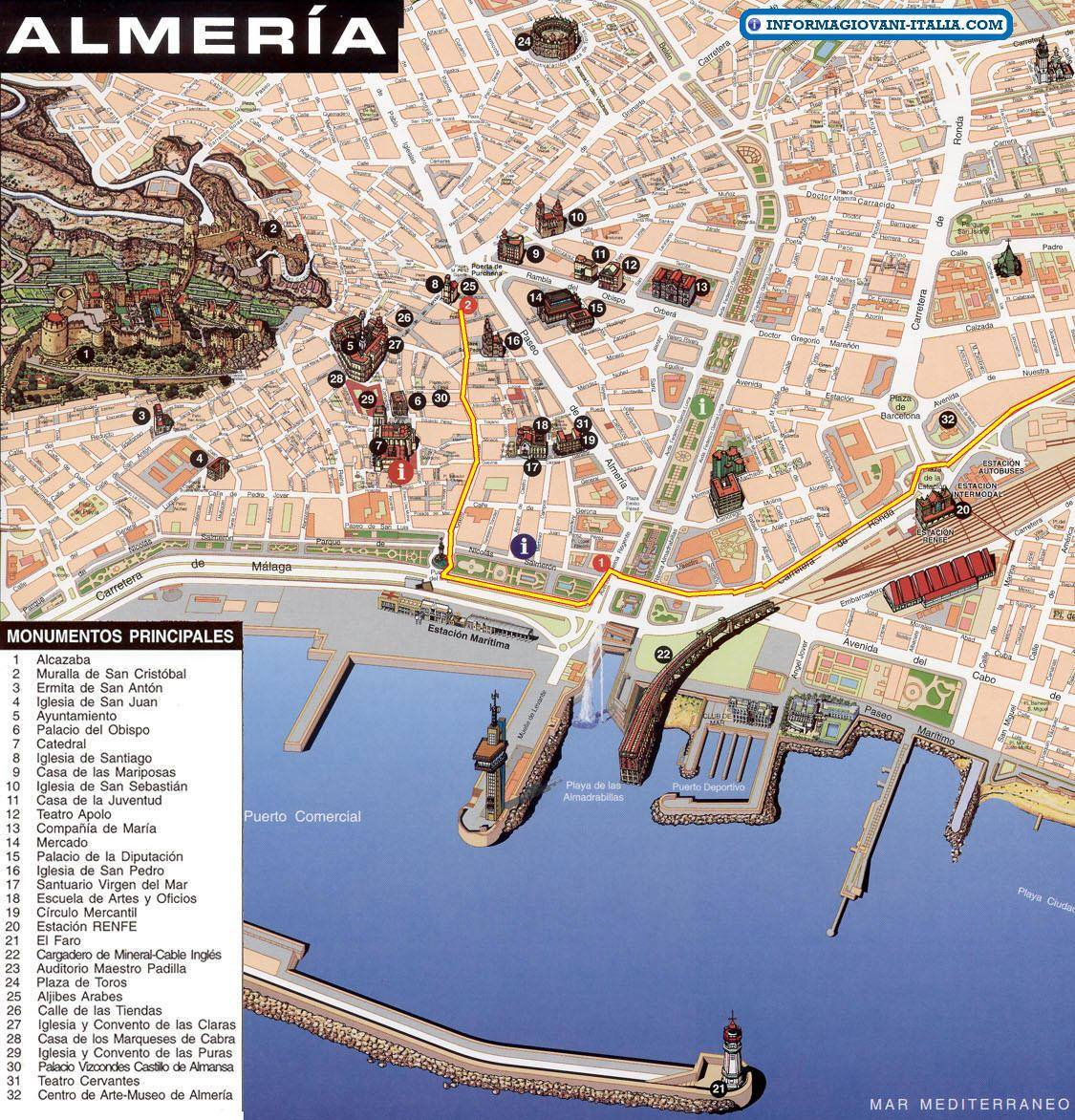 Map Of Spain Almeria.Almeria Spain Cruise Port Of Call