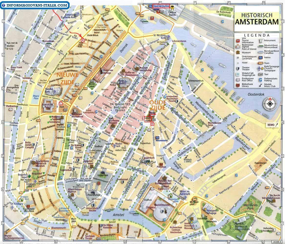 Mappa di amsterdam cartina di amsterdam for Amsterdam ostelli economici centro