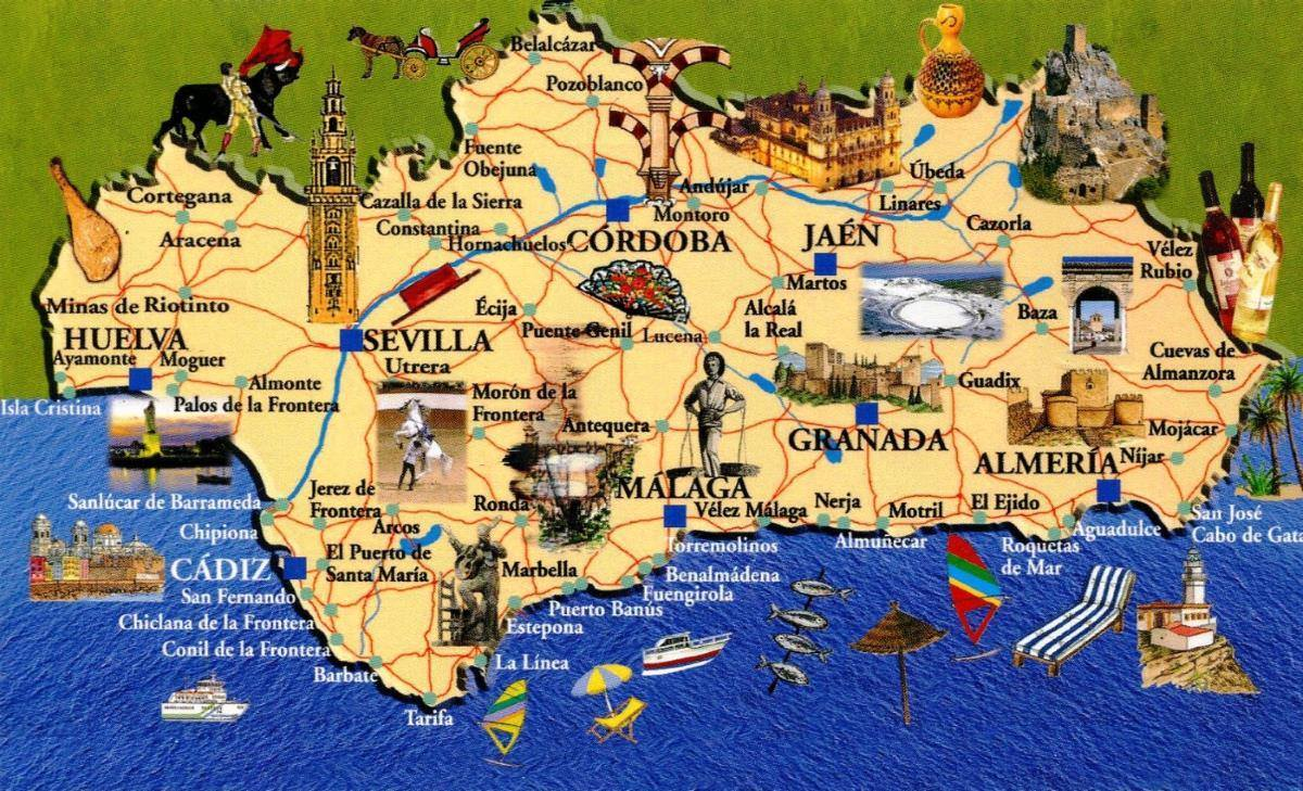 Mappa Andalusia Cartina Andalusia