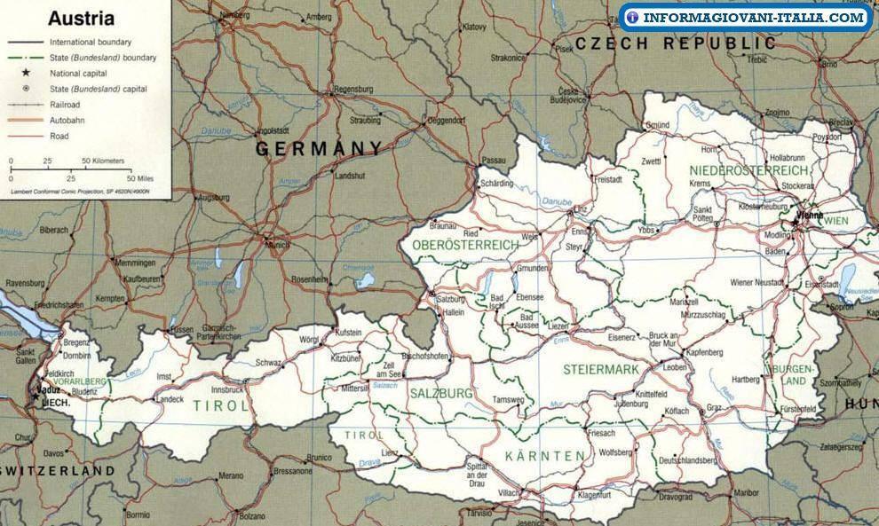 Austria Cartina Turistica.Austria Mappa Politica