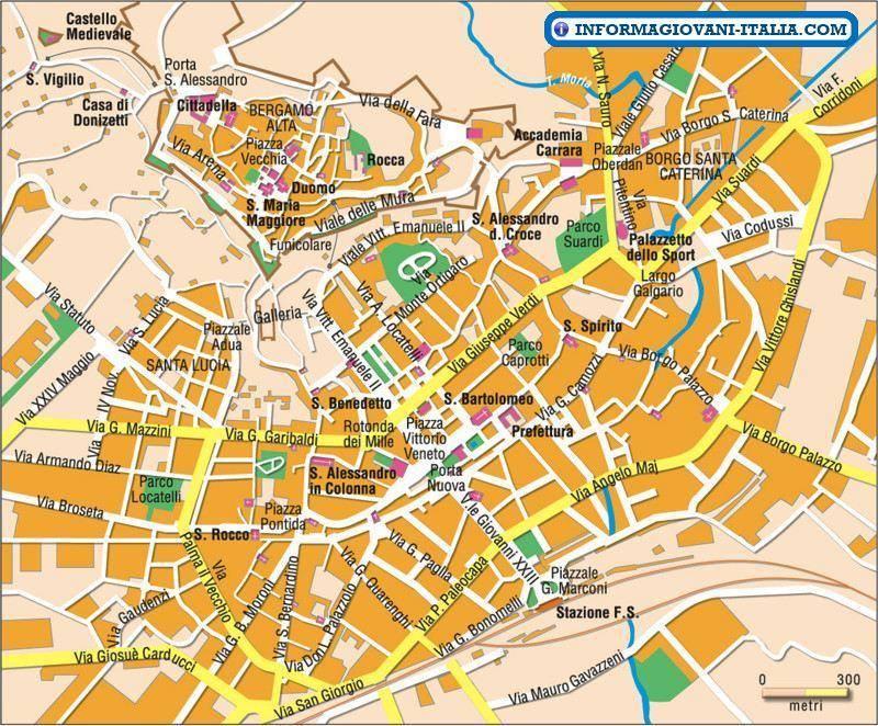 Bergamo Sulla Cartina Geografica.Mappa Di Bergamo Cartina Di Bergamo