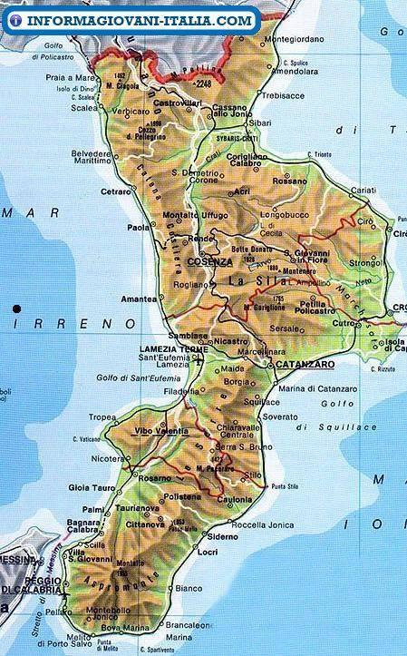 Cartina Geografica Della Calabria Fisica.Mappa Della Calabria Cartina Della Calabria