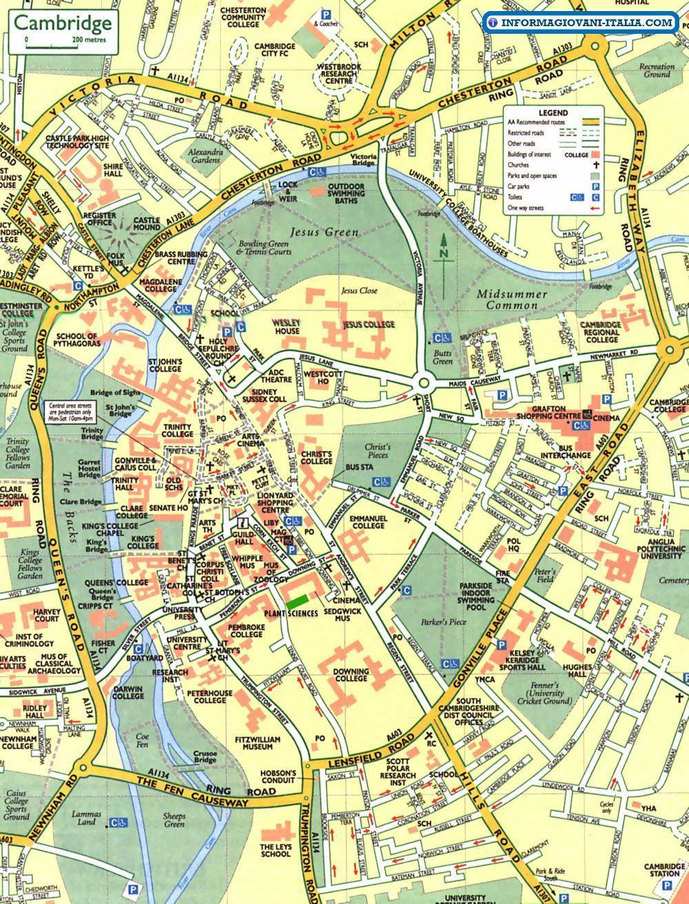 Cartina Di Londra E Dintorni.Mappa Di Cambridge Cartina Di Cambridge