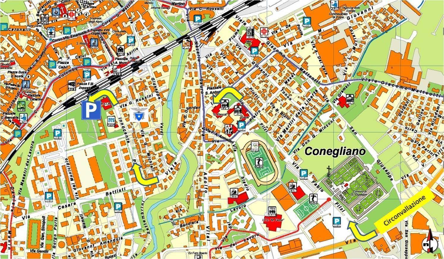 Cartina Michelin Italia.Conegliano Italy Map
