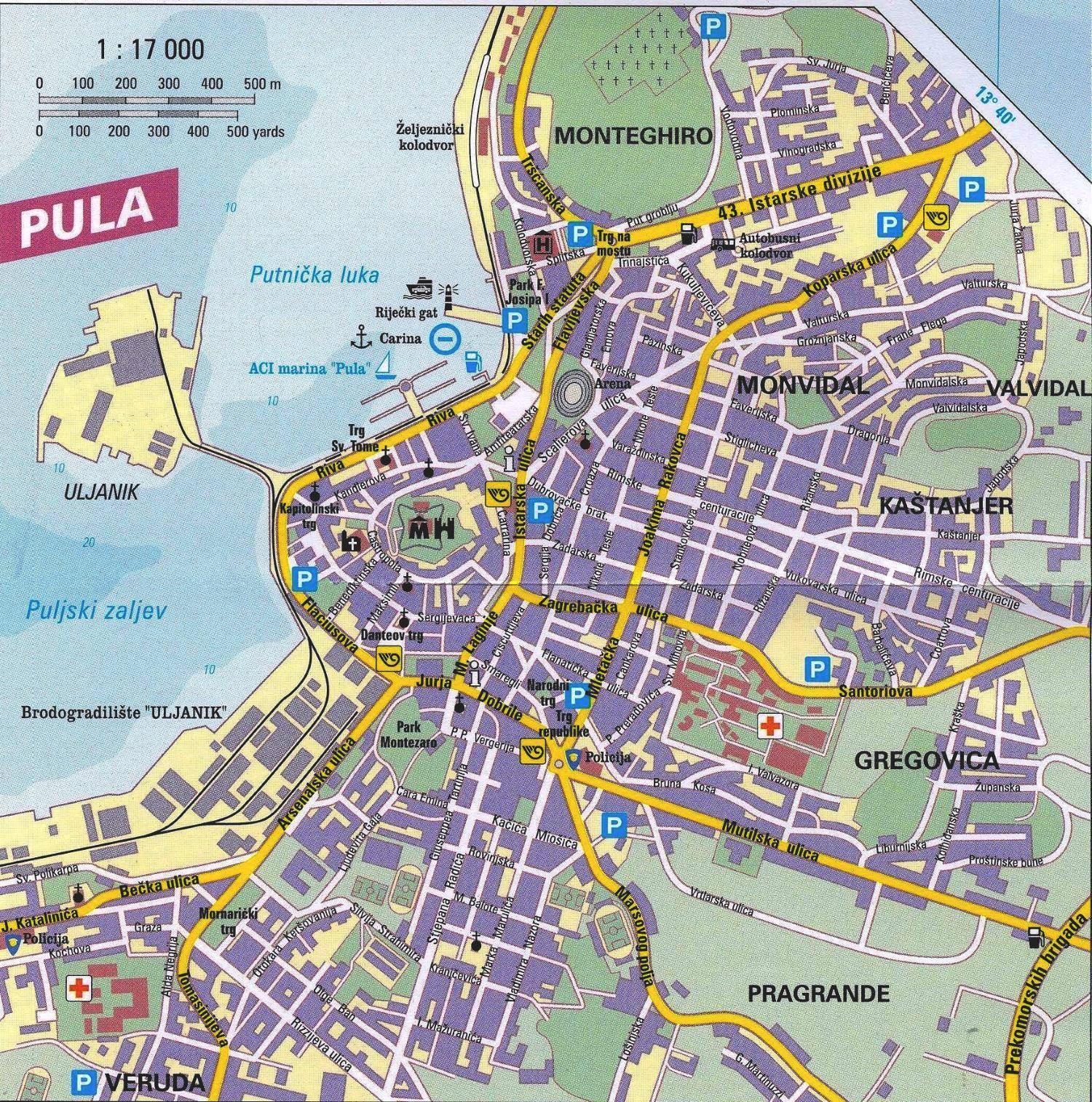 Italia Croazia Cartina.Mappa Pola Cartina Di Pola