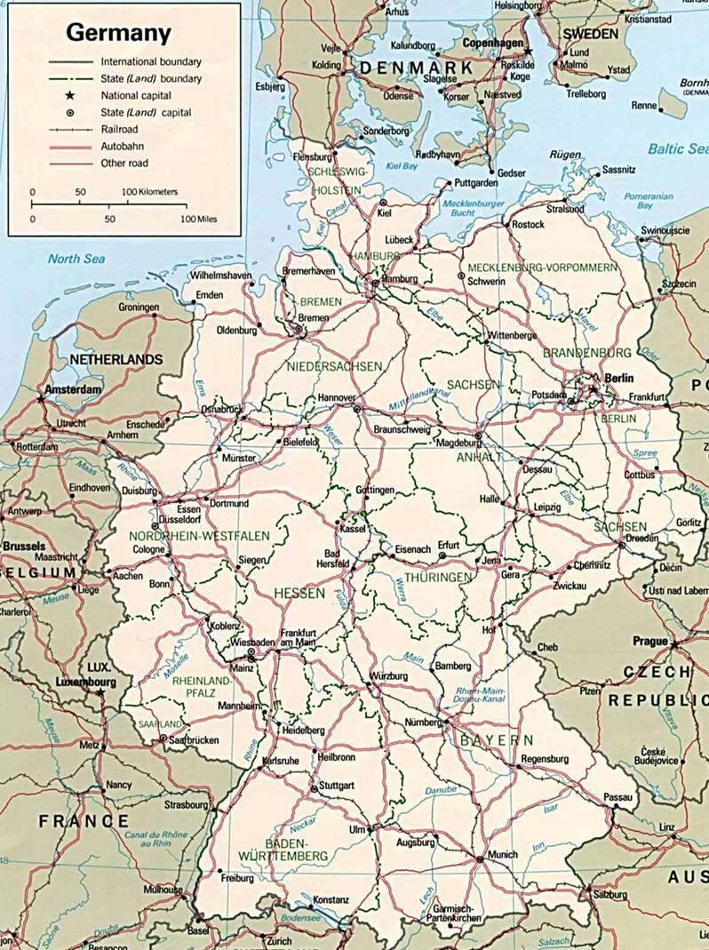 Cartina Geografica Della Germania.Mappa Della Germania Cartina Della Germania
