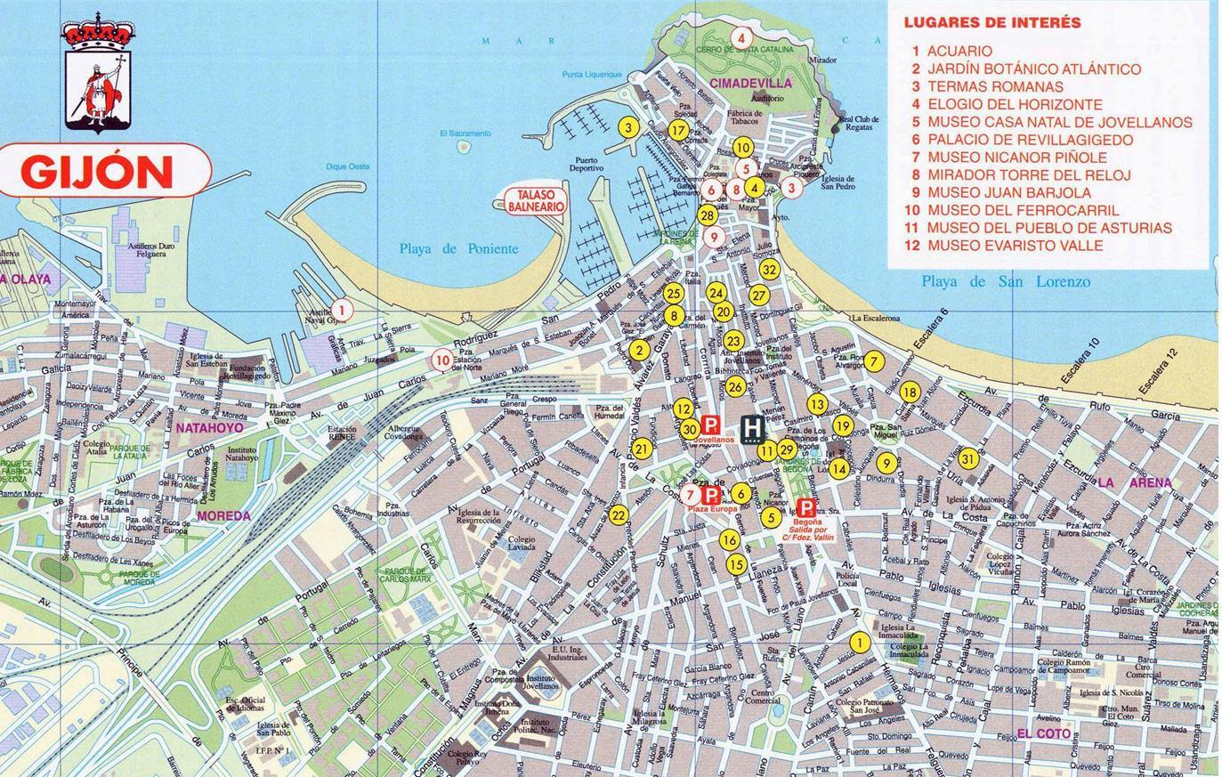 San Sebastian Spagna Cartina.Mappa Gijon Cartina Di Gijon