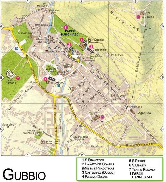 Umbria Cartina Turistica.Mappa Di Gubbio Cartina Di Gubbio