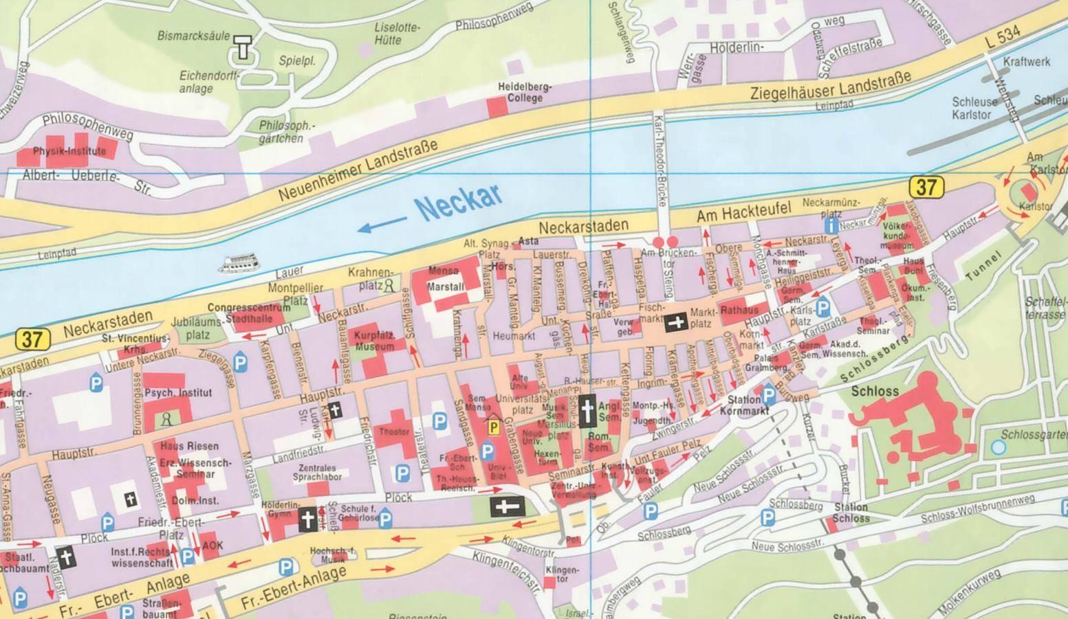 heidelberg mapa Map of Heidelberg heidelberg mapa