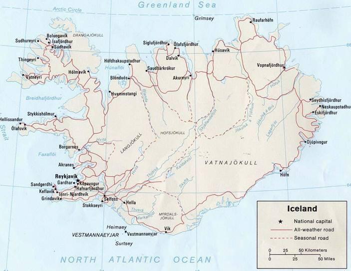 Mappa islanda cartina dell 39 islanda for L hotel della cabina islanda