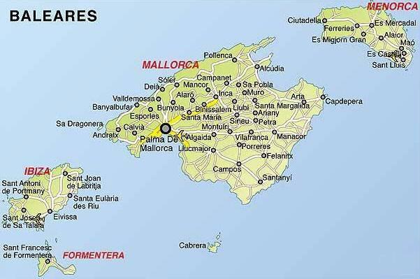 Cartina Geografica Canarie.Mappa Isole Baleari Cartina Isole Baleari
