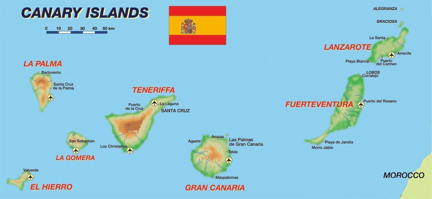 Spagna Ibiza Cartina Geografica.Mappa Isole Canarie Cartina Isole Canarie