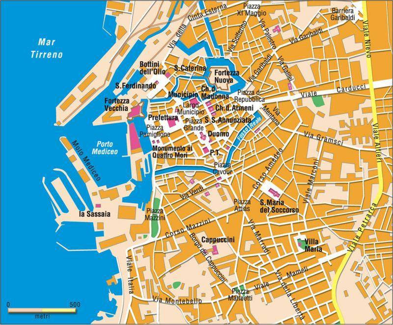 Livorno Cartina Geografica Italia.Mappa Di Livorno Cartina Di Livorno
