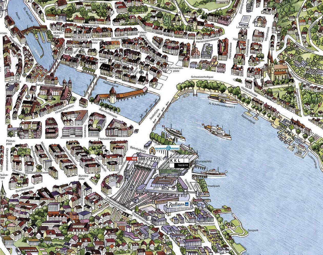 Karte von luzern stadtplan basel for Mappa della costruzione di casa