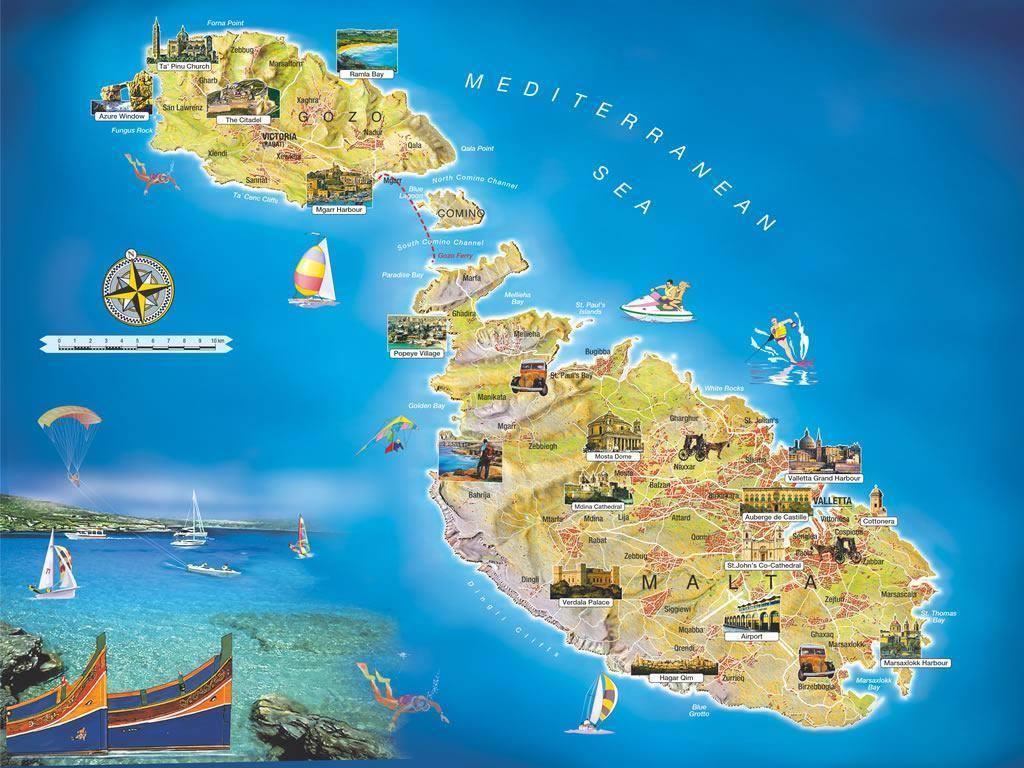 Malta Cartina Turistica.Mappa Di Malta Cartina Di Malta