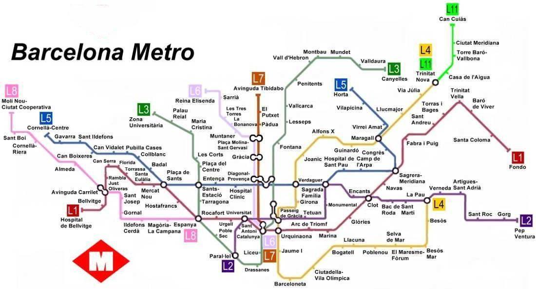 mappa metro barcellona