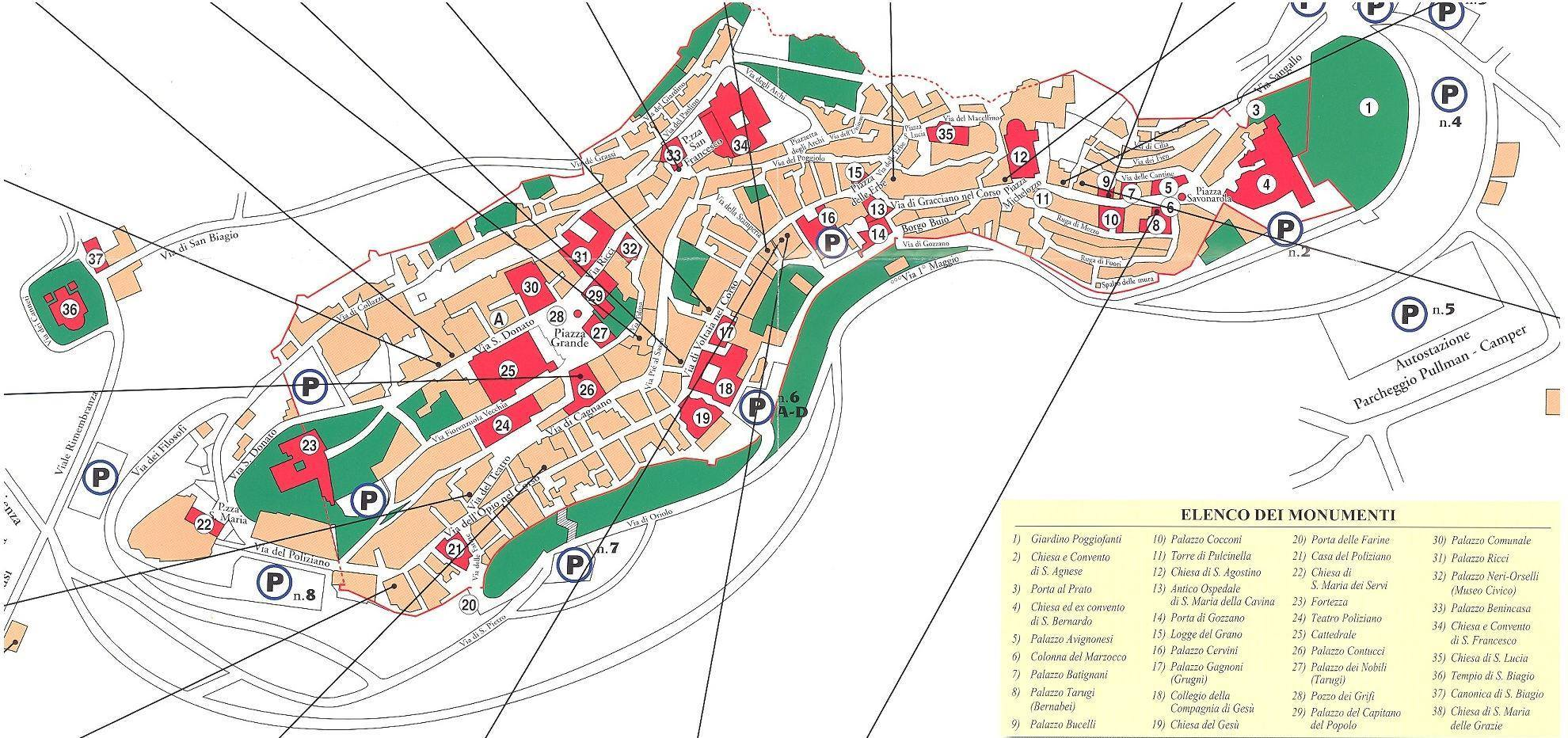 Mappa Di Montepulciano Cartina Di Montepulciano