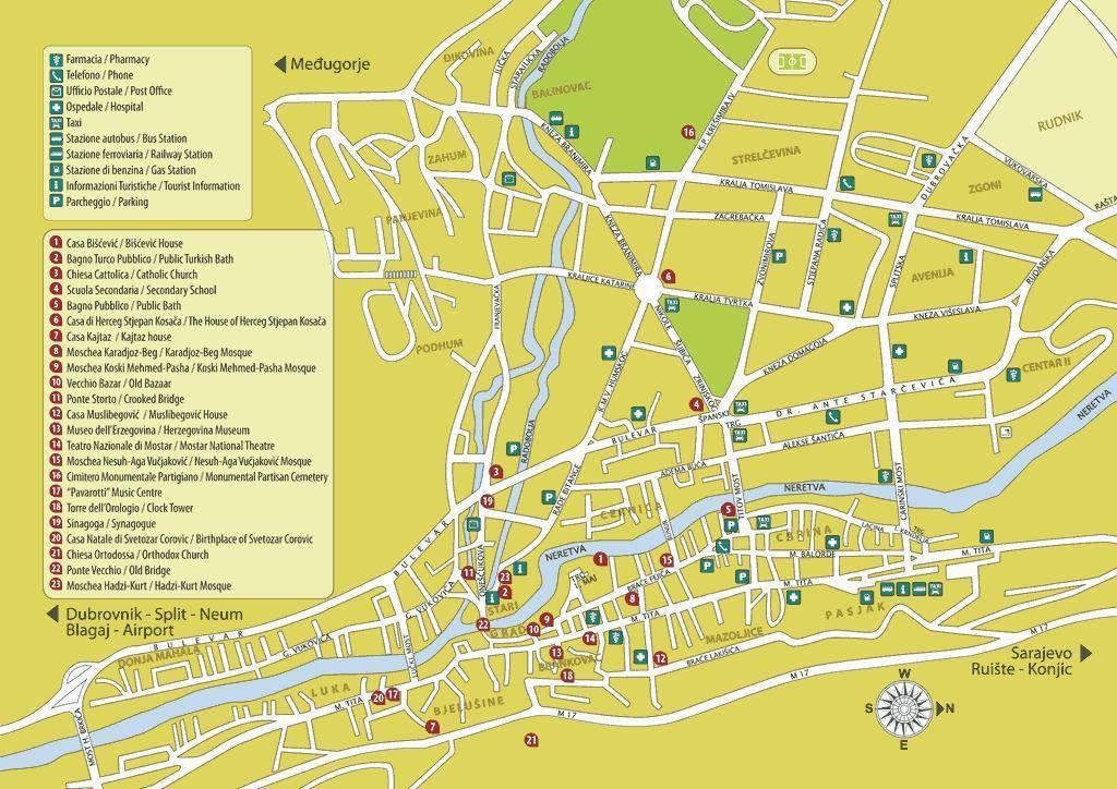 mostar mapa Mapa Mostar   Plano de Mostar mostar mapa