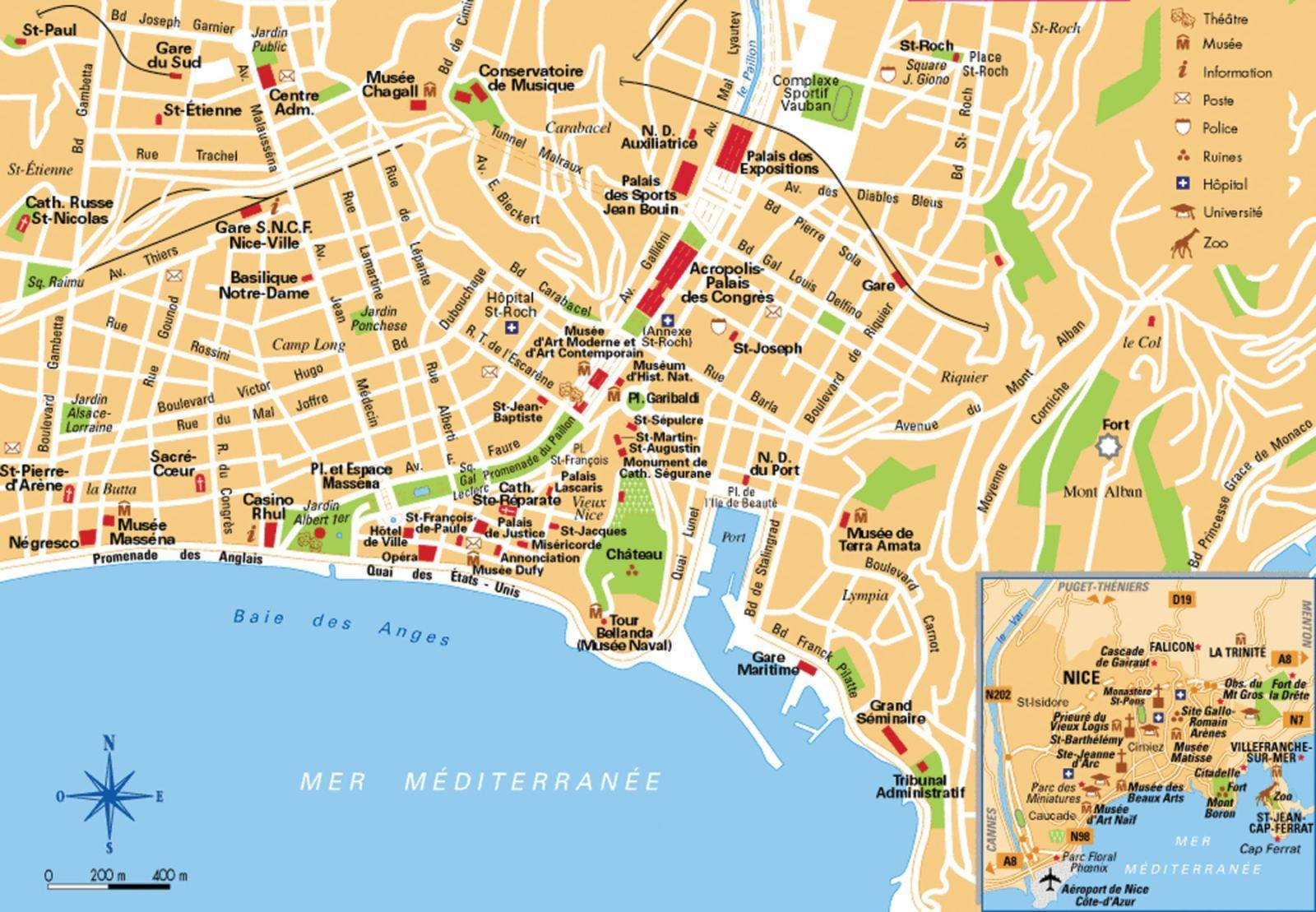 Mappa di nizza cartina di nizza - Office de tourisme sitges ...