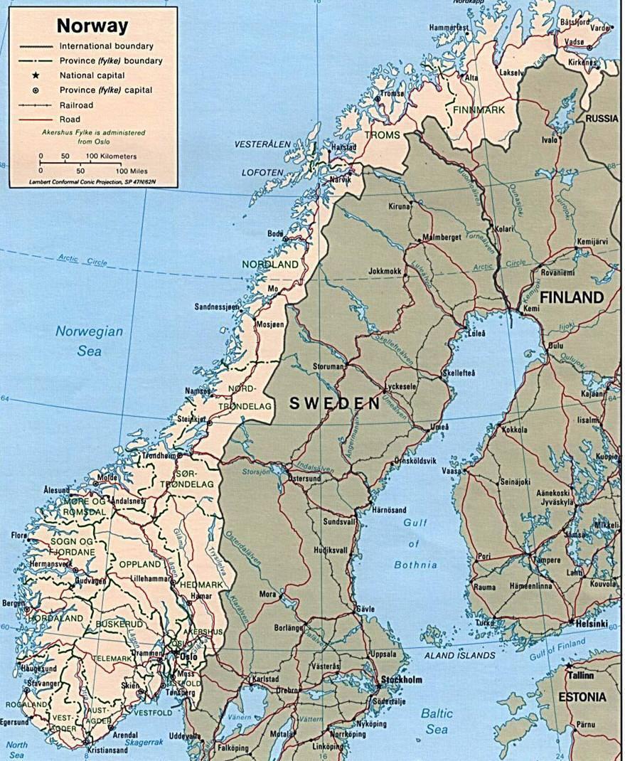 Cartina Stradale Norvegia.Mappa Della Norvegia Cartina Della Norvegia