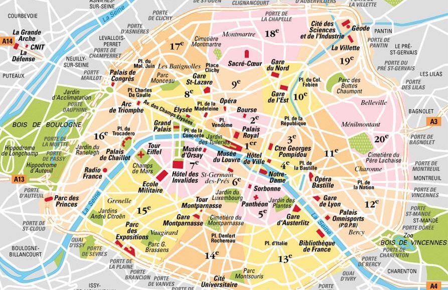 Cartina Di Parigi E Dintorni.Mappa Di Parigi Cartina Di Parigi
