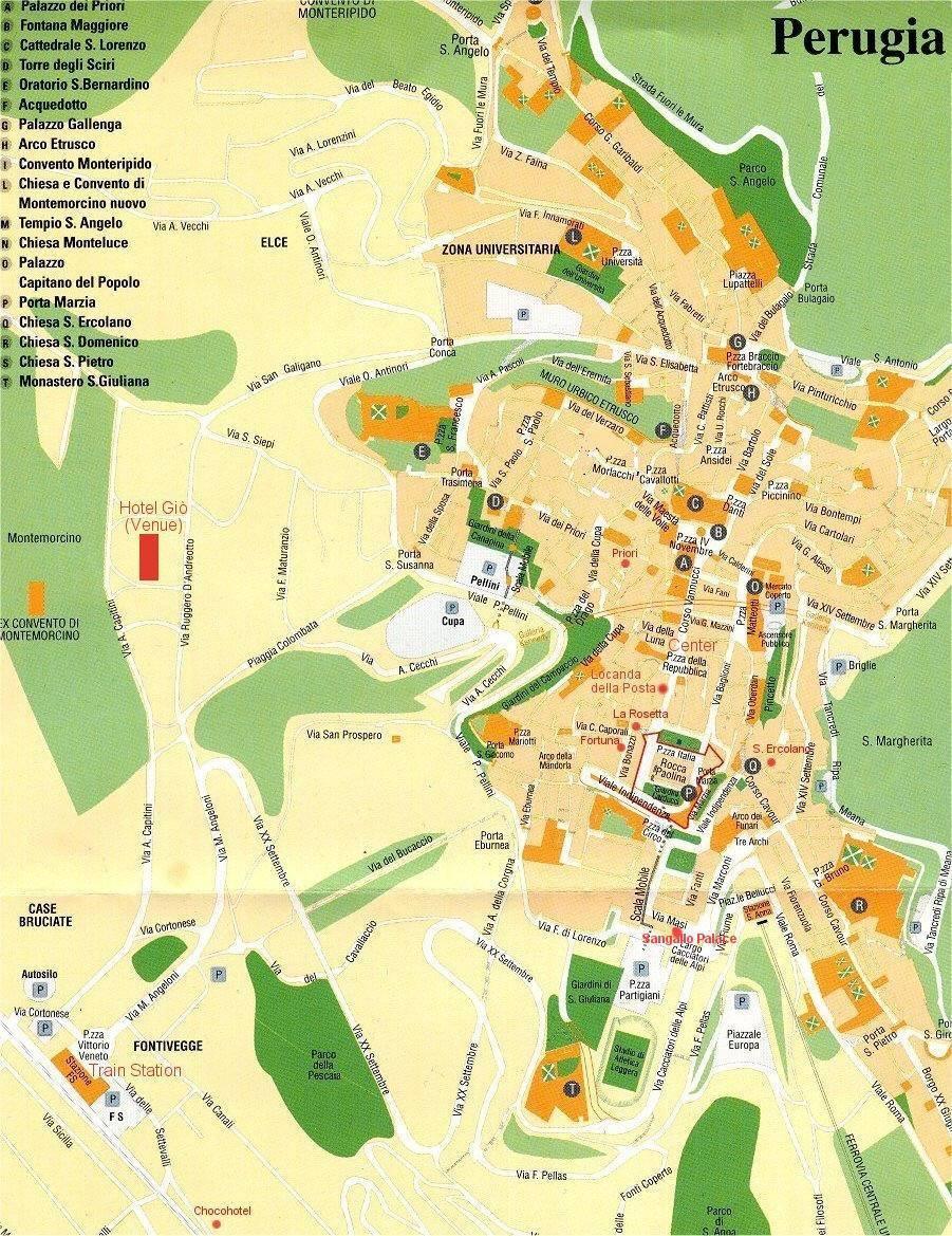 Carte Italie Perugia.Carte De Perouse Plan De Perouse