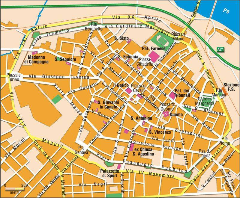Karte Von Piacenza Stadtplan Piacenza