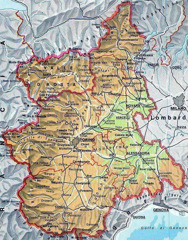 Carte Piémont   Plan de Piémont