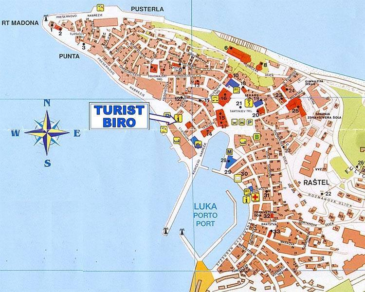 Karte Von Piran Stadtplan Piran