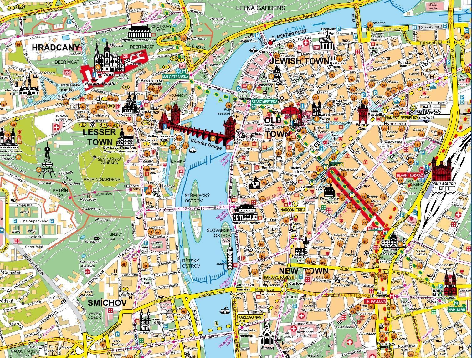 Mappa di praga cartina di praga for Ostelli barcellona centro economici