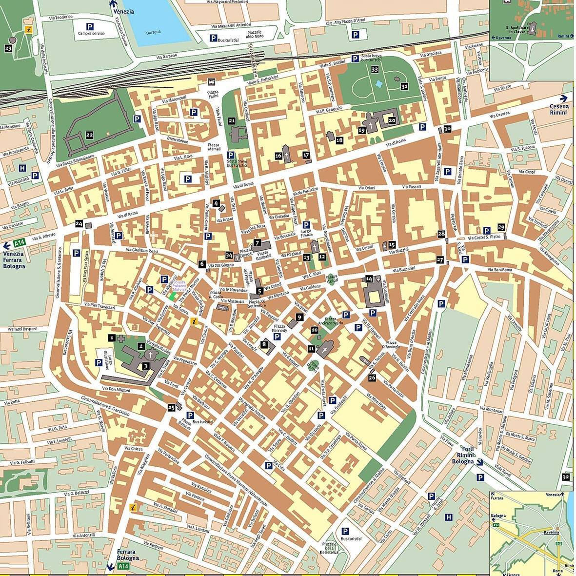 Ravenna Cartina Geografica Italia.Mappa Di Ravenna Cartina Di Ravenna