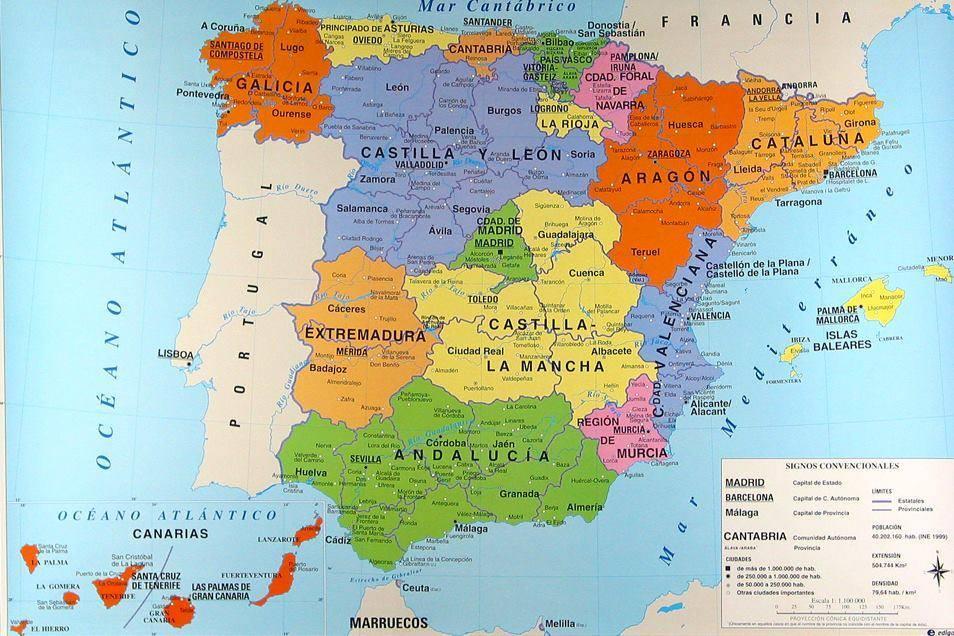 Cartina Citta Spagna.Mappa Delle Regioni Spagnole Cartina Delle Regioni Della