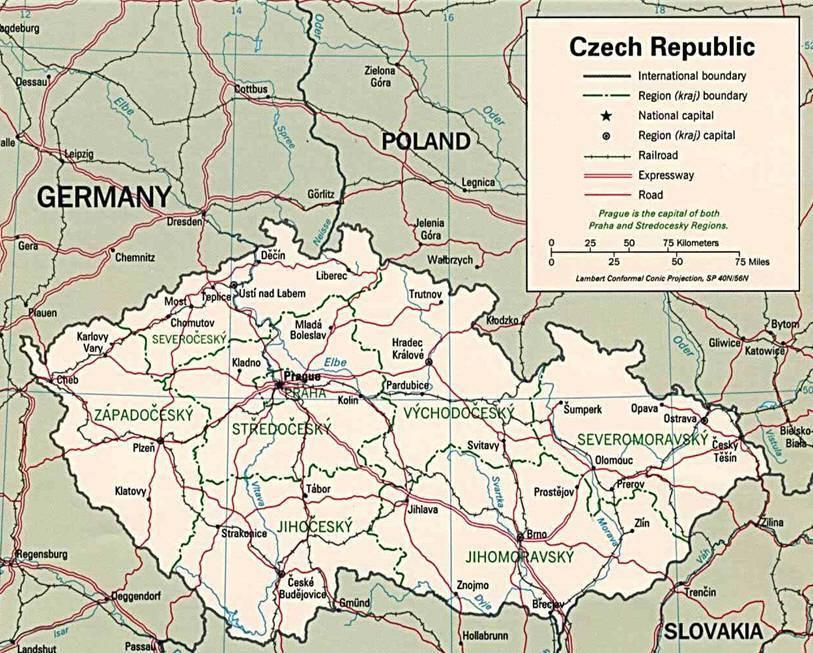 Repubblica Ceca Cartina Europa.Mappa Repubblica Ceca Ceka Cartina Della Repubblica Ceca