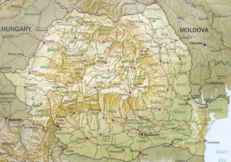 Romania Cartina Stradale.Mappa Della Romania Cartina Della Romania