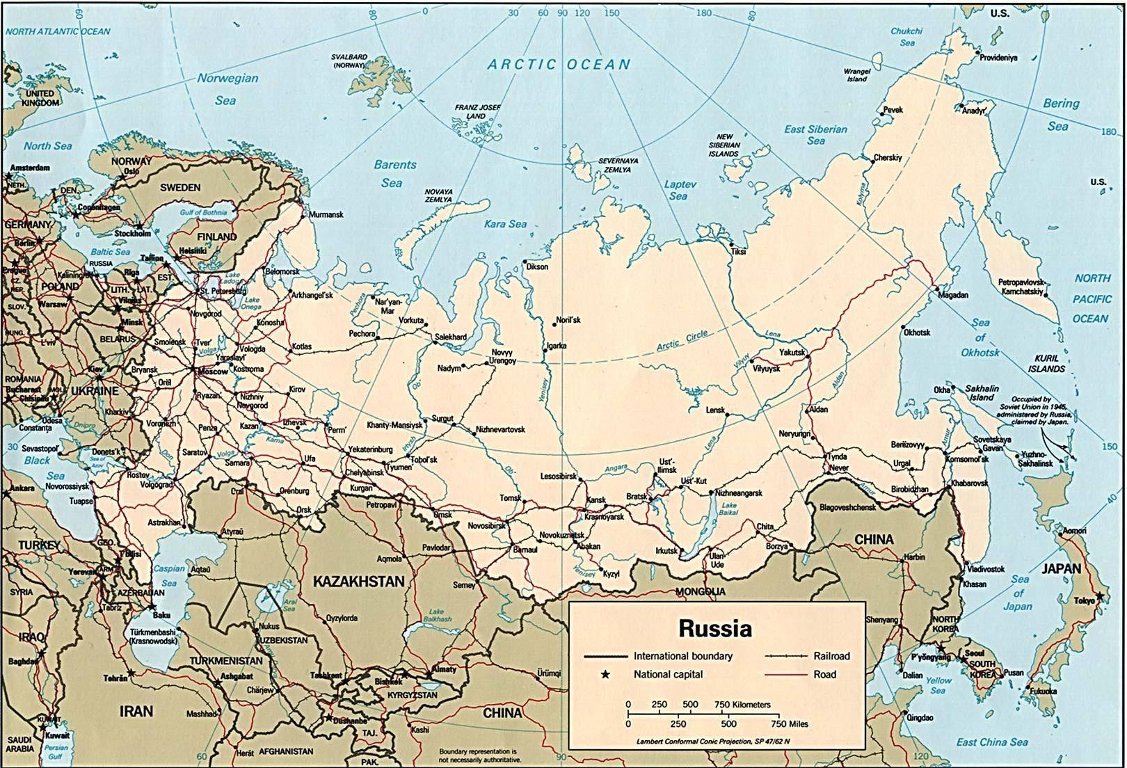 Cartina Europa E Russia.Mappa Della Russia Cartina Della Russia