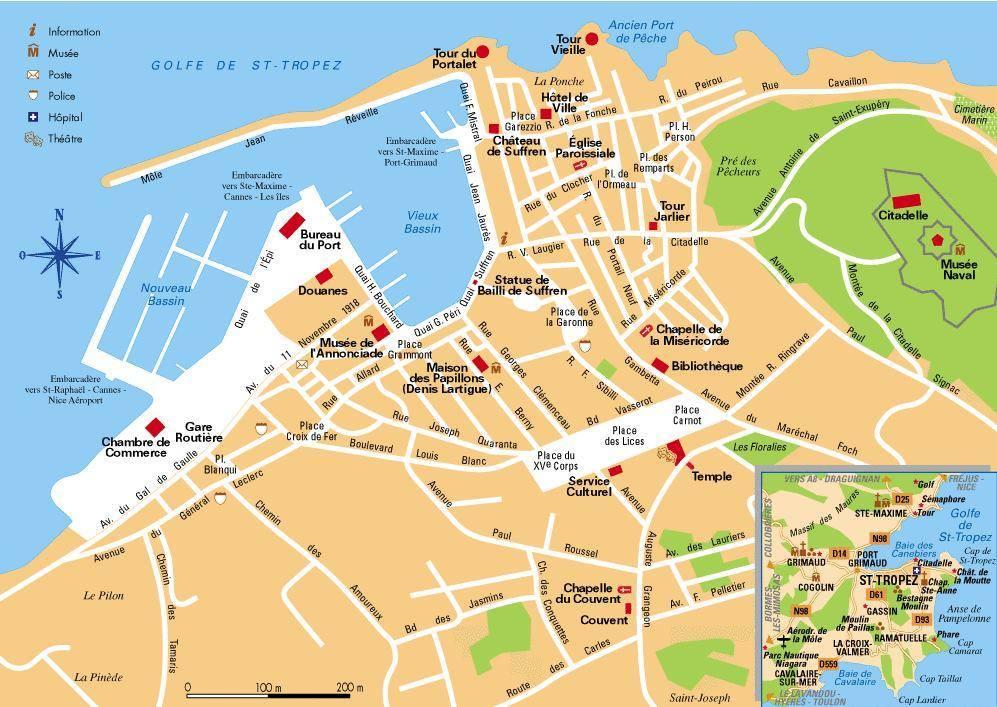 Karte von Saint Tropez...