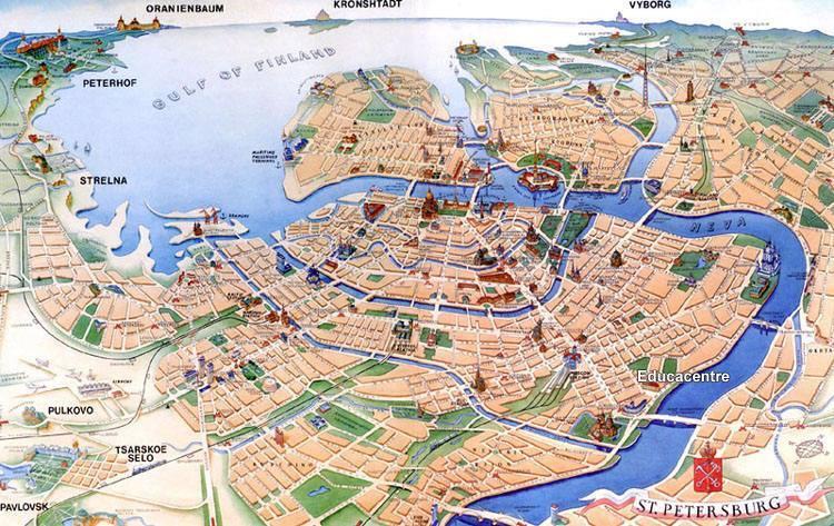 Mappa di san pietroburgo cartina di san pietroburgo - San pietroburgo russia luoghi di interesse ...