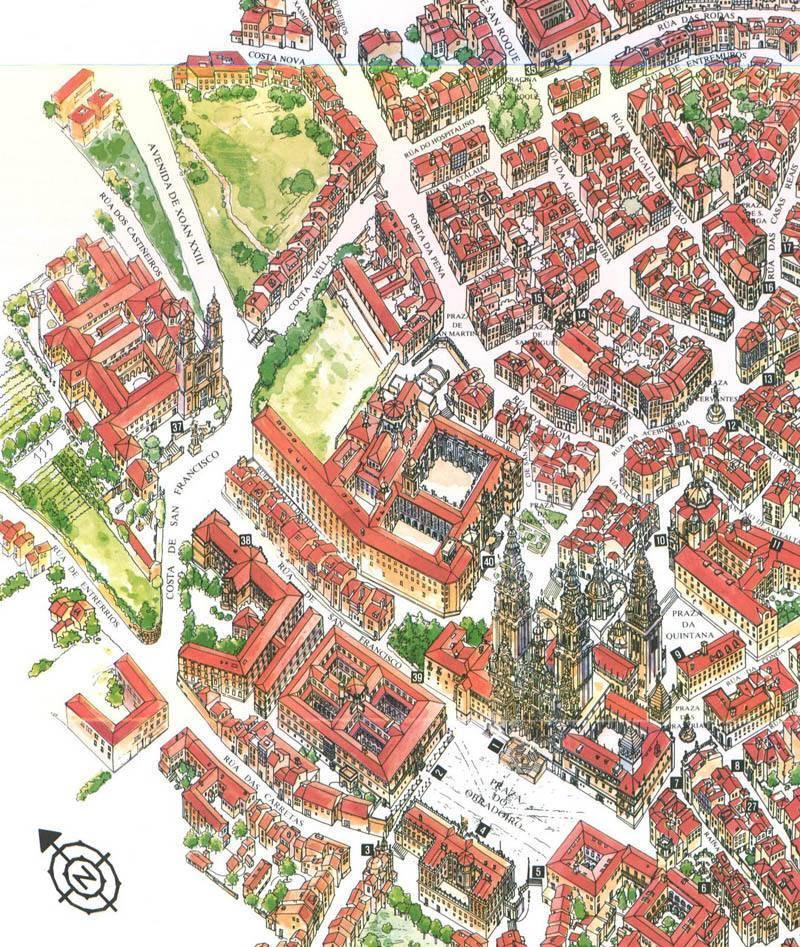 Mapa De Santiago De Compostela Plano De Santiago De Compostela
