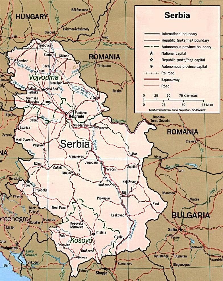 Mappa Della Serbia Cartina Della Serbia